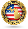 Michigan state gold label with state map vector image