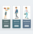 set of banners with office workers characters in vector image