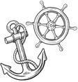 doodle ship anchor wheel vector image vector image