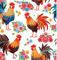 seamless texture with colorful lovely cockerels vector image vector image