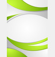Green corporate wavy flyer background vector image