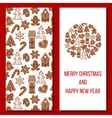 Christmas card Cozy Xmas gingerbred greetings vector image
