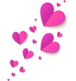 Pink cutout paper folded hearts vector image