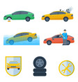 set insurance cases of car crash stolen wheel vector image