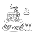 set of wedding decorative elements and attributes vector image