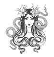 Woman with flowers and snakes Tattoo art vector image