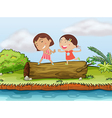 Children and a log vector image vector image