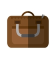 brown suitcase business traveler handle shadow vector image