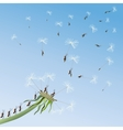Dandelion on a background blue sky vector image