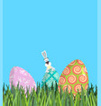 easter painted egg and bunny religious holiday vector image