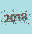 2018 happy new year card crowd big group people vector image