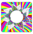 Rainbow Bright Leaves Abstract Round Frame vector image vector image