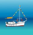 Boat in a sea vector image vector image