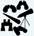 Binoculars spyglass and telescope in tripod vector image vector image