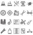 Black line icons collection for sewing or handmade vector image