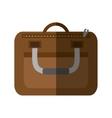 brown suitcase business traveler handle shadow vector image