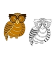 Colorful and outline doodle owl vector image