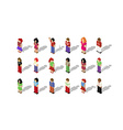 Isometric pixel people set vector image