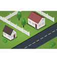 Isometric street with two houses vector image