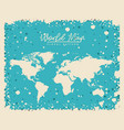 white world map floral pattern with light blue vector image