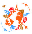 worlds famous travel landmarks vector image