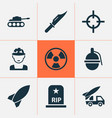 combat icons set collection of cutter missile vector image