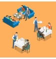 Restaurant service isometric flat concept vector image vector image