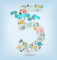 floral number five with blue ribbon vector image