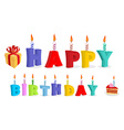 Happy birthday Letters and candles Logo for vector image