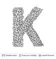 letter k symbol of white leaves vector image