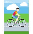Man riding his bike on the road among green fields vector image
