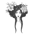 Woman with flowers Tattoo art coloring books vector image
