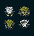 set of biker club emblem for t-shirt vector image
