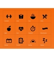 Fitness icons on orange background vector image