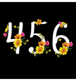 Floral numbers set vector image vector image