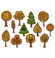 Hand drawn set of autumn trees vector image
