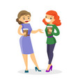 two caucasian white business women drinking coffee vector image