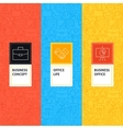 Line Business Office Patterns Set vector image