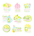 natural fresh juice product set of logo templates vector image