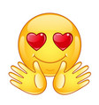 in love emoticon with open hands vector image vector image