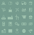 Supply chain line icons on green background vector image vector image