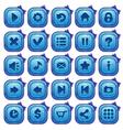 Cute cartoon blue square buttons set vector image