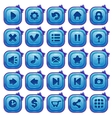 Cute cartoon blue square buttons set vector image