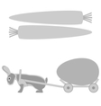 Grey rabbit pulls a cart with egg and carrot vector image