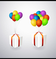 isolated gift boxes with balloons vector image