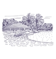 Tropical hotel with swimming pool vector image