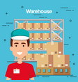 warehouse goods service icons vector image