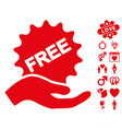 free present icon with valentine bonus vector image