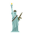 statue of liberty military helmet and weapon usa vector image