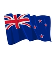 political waving flag of new zealand vector image vector image